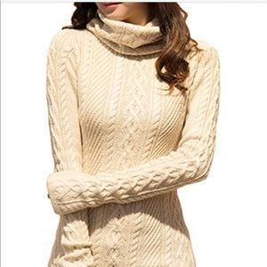 NWT v28 Women Polo Neck Knit Stretch Long Sweater